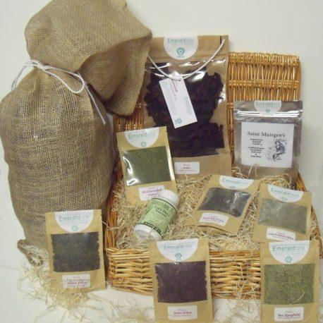 Hamper of sea herbs, bath and body seaweed powder, Dulse, Triple Blend Capsules and whole leaf seaweed bath
